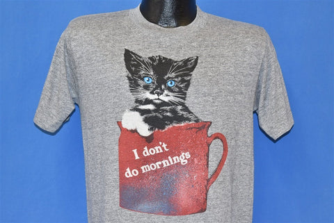 80s I Don't Do Mornings Cat Coffee Mug Funny t-shirt Medium
