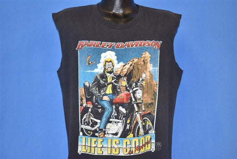 80s Harley Davidson Life is Good in America t-shirt Extra Large