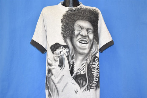 90s Jimi Hendrix Playing Guitar Airbrushed t-shirt XXL