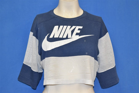 80s Nike Blue White Mesh Half Crop Top t-shirt Medium