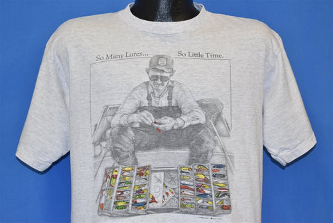 90s So Many Lures So Little Time Funny Fishing t-shirt Large
