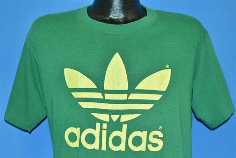 80s Adidas Trefoil Logo Kelly Green Three Stripe t-shirt Large