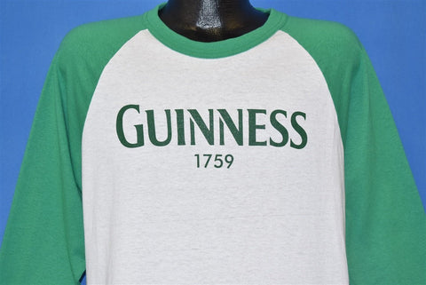 80s Guinness Beer 1759 Raglan Green Jersey t-shirt Large