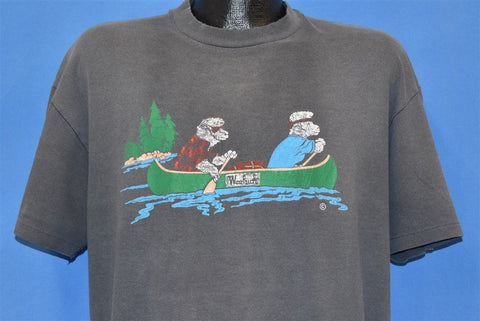 80s Woolrich Sheep Canoeing Funny Cartoon t-shirt Extra Large