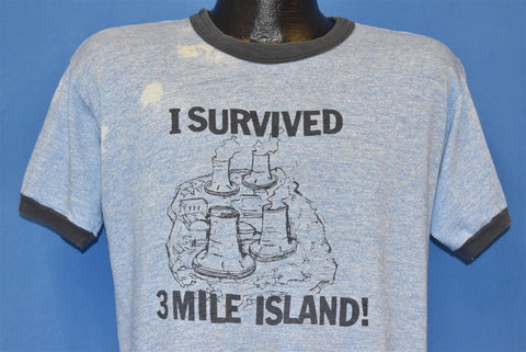 70s I Survived 3 Mile Island Tri Blended Ringer t-shirt Large
