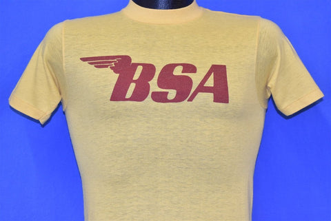 70s BSA Wings Motorcycles Logo Biker Yellow t-shirt Extra Small