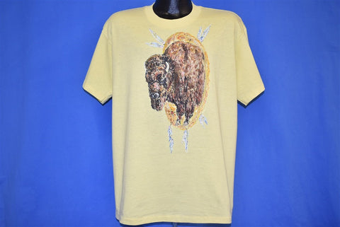80s Bison Native American Motif Feathers t-shirt Extra Large