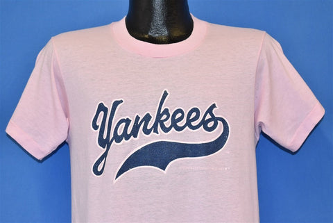 80s New York Yankees MLB Baseball Sparkle Pink t-shirt Medium