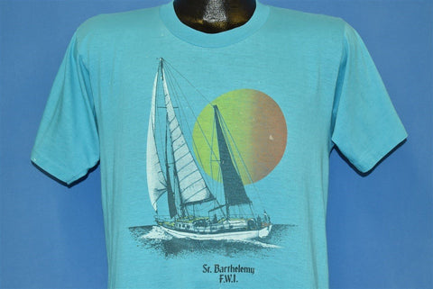 80s St. Barthelemy FWI Schooner Sailboat Sunset t-shirt Medium