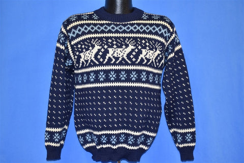 60s Snowflake Reindeer Wool Central Sport Sweater Medium