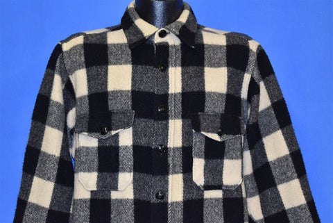 50s Woolrich 554 Plaid Black Off White Wool Shirt Large
