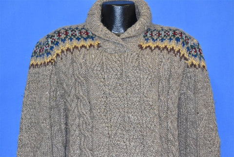80s Ralph Lauren Gray Cable Knit Sweater Medium