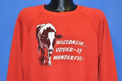 90s Wisconsin Dairy Air Udderly Cow Sweatshirt Extra Large
