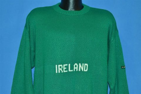 80s Blarney Castle Ireland Green Wool Sweater Extra Large