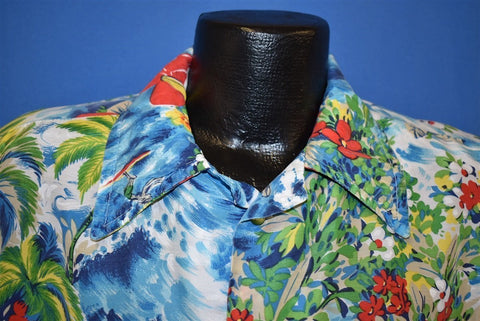 70s Surfer Floral 40s Style Aloha Hawaiian Shirt Large