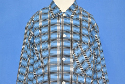 60s Blue Plaid Kolesport Button Down Shirt Youth Large