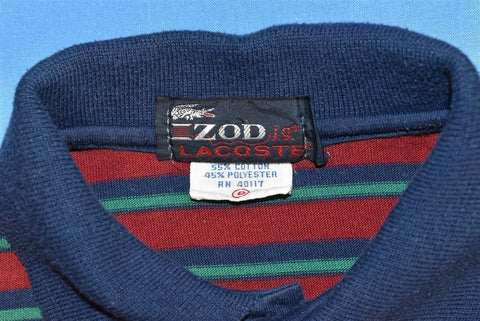 80s Izod Lacoste Maroon Striped Polo Shirt Youth Small