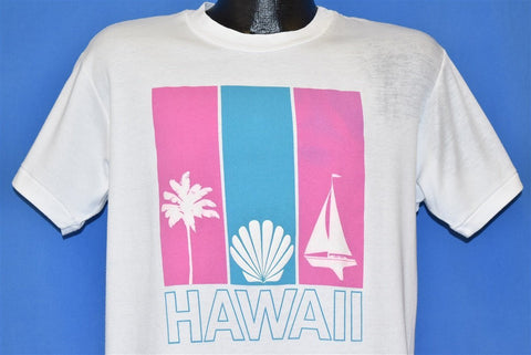 80s Hawaii Palm Tree Sailboat Seashell Tourist t-shirt Large