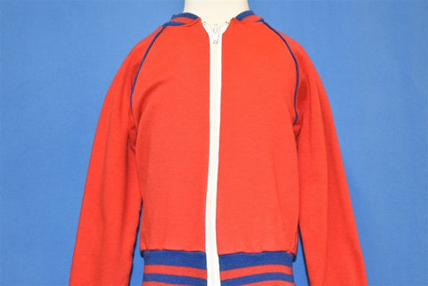 80s Red Blue Striped Zip Front Track Jacket Youth Small