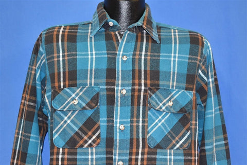 80s Five Brother Blue Plaid Flannel shirt Medium