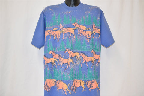 90s Wolf Horse Buffalo All Over t-shirt Extra Large