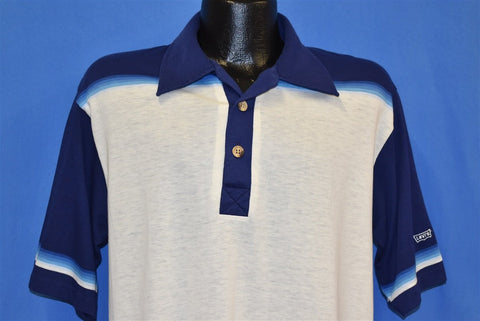 80s Levis Strauss & Co Off-White Blue Polo Shirt Large