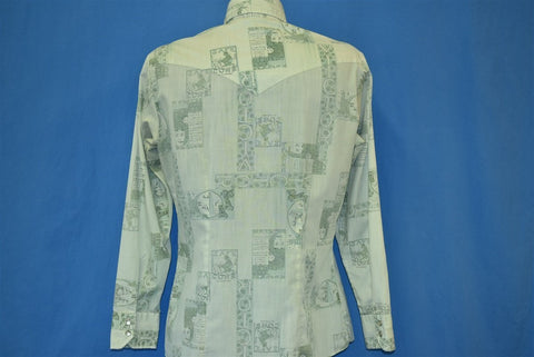 70s Hands Off Vintage Advertising  Pearl Snap Shirt Medium