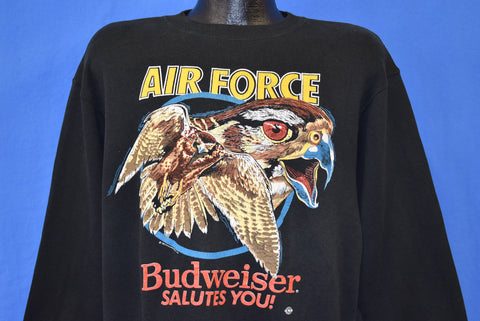 90s Air Force Budweiser Salutes You Falcon Sweatshirt Large