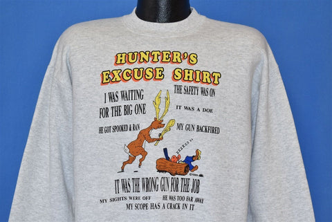 80s Hunter's Excuse Funny Deer Hunting Sweatshirt Large