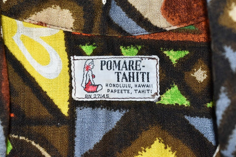 60s Pomare Bark Cloth Colorful Tiki Hawaiian Shirt Large