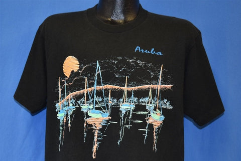 90s Aruba Sailboats Sunset Moon Ocean t-shirt Large