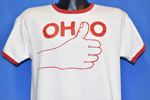 70s Ohio State Thumbs Up Michigan Thumbs Down t-shirt Large