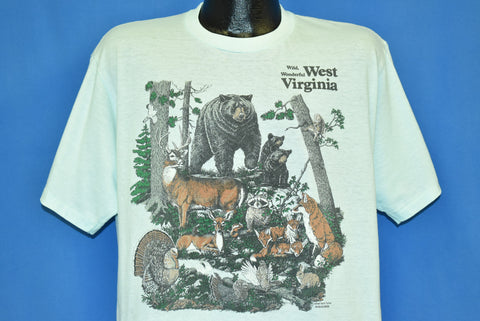 80s West Virginia Wild Wonderful Forest Animals t-shirt Extra Large