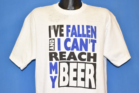 80s I've Fallen Can't Reach My Beer Funny t-shirt Extra Large