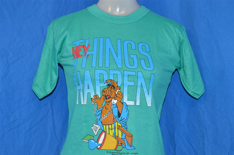 "80s NEW Alf ""Hey, Things Happen"" Teal t-shirt Youth Medium 10-12"