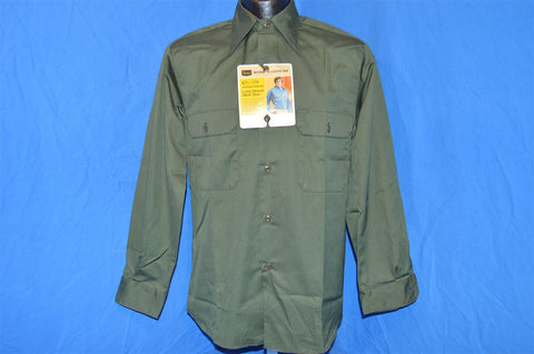 70s Sears Green Button Down Deadstock Shirt Small
