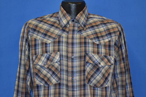 80s Campus Brown and Blue Plaid Western Shirt Medium