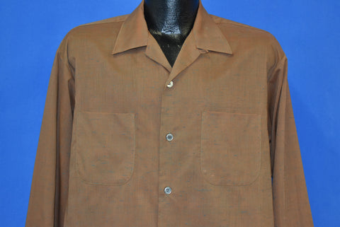 60s Truval Brown Loop Collar Button Front Shirt Large