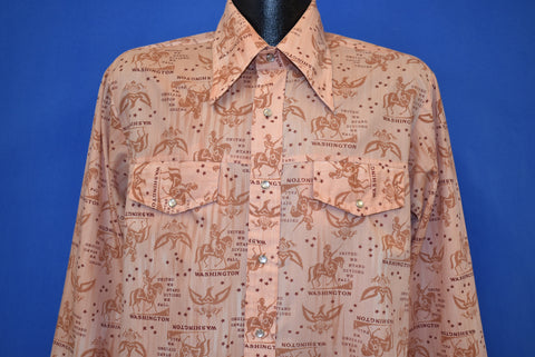 70s Washington United We Stand Western Shirt Large