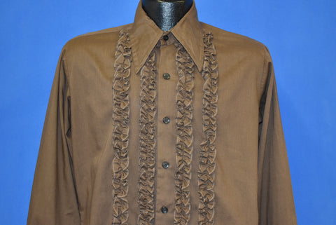 70s Brown Ruffled Tuxedo Shirt Men's Medium