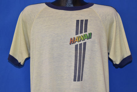 70s Hawaii Tourist Distressed Ringer t-shirt Large