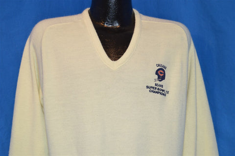 1986 Chicago Bears Super Bowl XX Champions V Neck Sweater Large