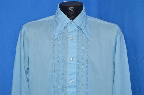 70s Arrow Blue Embroidered Tuxedo Shirt Medium