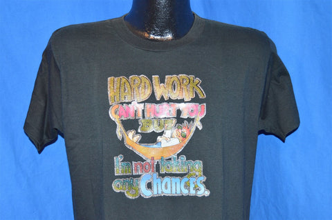 "70s ""Hard Work Can't Hurt You"" Glitter Iron On Funny t-shirt Large"