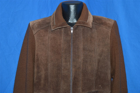 80s Deerskin Trading Post Leather Sweater Jacket Large