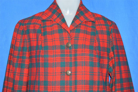 50s Red Pendleton Wool Plaid Suit Jacket Medium