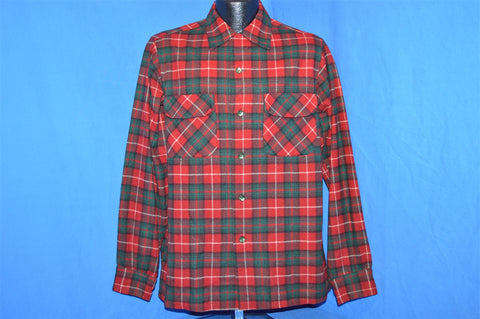 50s Pendleton Red Plaid Wool Button Down shirt Medium