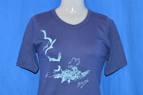 70s Hawaii Seagulls Rib Knit t-shirt Women's Large