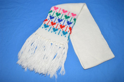 80s Rainbow Hearts Tassel Winter Scarf Youth