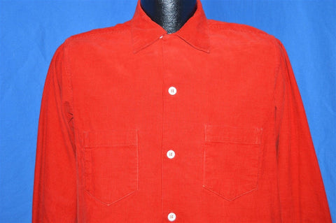 50s Pilgrim Red Corduroy Rockabilly Shirt Medium